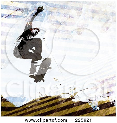 Royalty-Free (RF) Clipart Illustration of a Grungy Skateboarder Over Hazard Stripes by Arena Creative