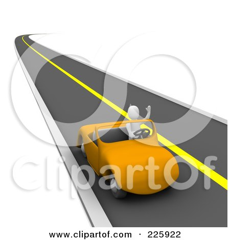 Royalty-Free (RF) Clipart Illustration of a 3d Blanco Man Waving And Driving An Orange Car On A Road by Jiri Moucka