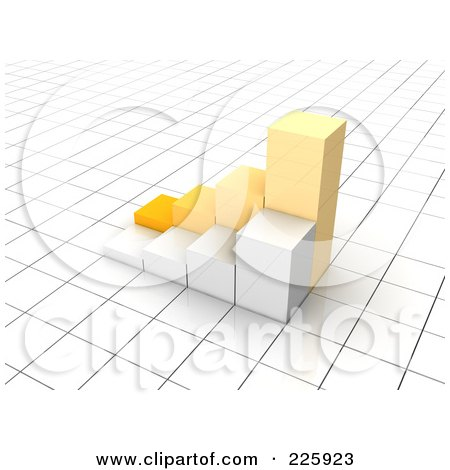 Royalty-Free (RF) Clipart Illustration of a 3d Yellow And White Bar Graph On A Grid by Jiri Moucka
