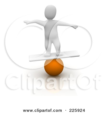 Royalty-Free (RF) Clipart Illustration of a 3d Blanco Man Balancing On A Ball And Board by Jiri Moucka