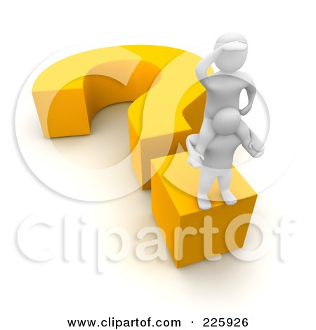Royalty-Free (RF) Clipart Illustration of a 3d Blanco Men Looking Out And Standing On A Question Mark by Jiri Moucka