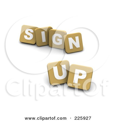 Royalty-Free (RF) Clipart Illustration of 3d Tan Blocks Spelling SIGN UP by Jiri Moucka