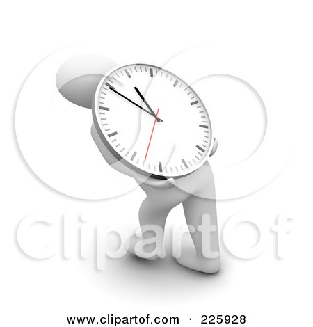 Royalty-Free (RF) Clipart Illustration of a 3d Blanco Man Carrying A Clock On His Back by Jiri Moucka