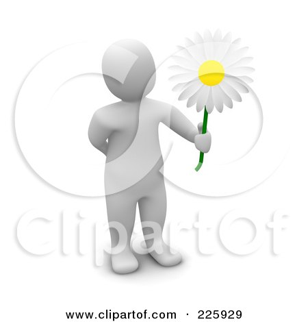 Royalty-Free (RF) Clipart Illustration of a 3d Blanco Man Holding Out A Pretty White Daisy by Jiri Moucka