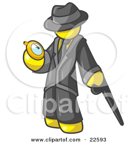 Clipart Illustration of a Yellow Businessman Checking His Pocket Watch by Leo Blanchette