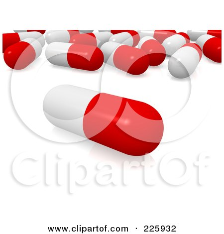 Royalty-Free (RF) Clipart Illustration of a 3d Red And White Pill In Front Of A Group by Jiri Moucka
