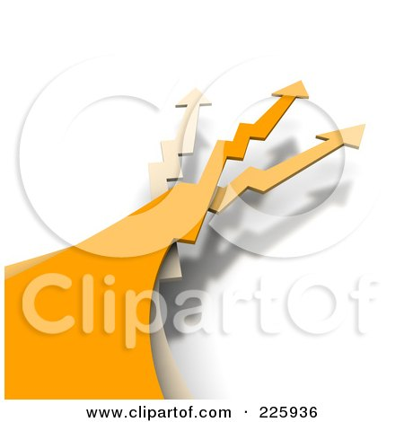 Royalty-Free (RF) Clipart Illustration of 3d Orange And Beige Jagged Arrows Leading Upwards by Jiri Moucka