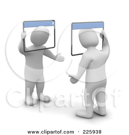 Royalty-Free (RF) Clipart Illustration of 3d Blanco Men Chatting With Web Browsers by Jiri Moucka