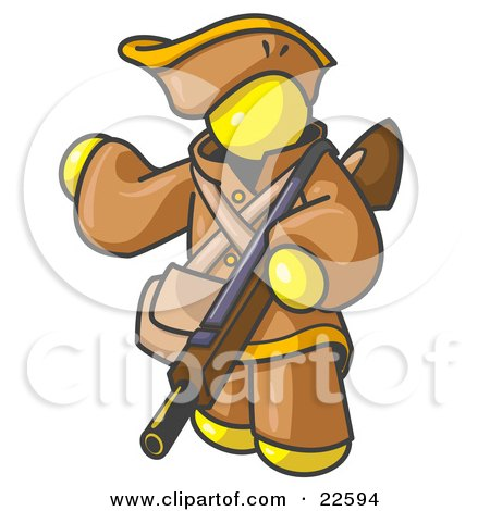 Clipart Illustration of a Yellow Man in Hunting Gear, Carrying a Rifle by Leo Blanchette