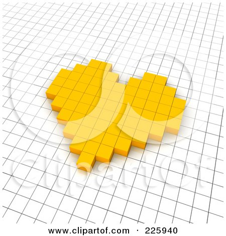 Royalty-Free (RF) Clipart Illustration of a 3d Heart Icon Made Of Yellow Pixels On A Grid by Jiri Moucka