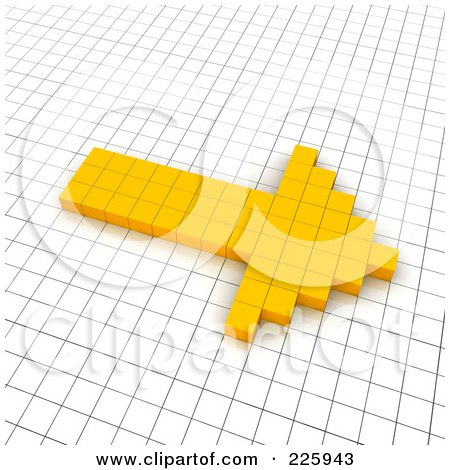 Royalty-Free (RF) Clipart Illustration of a 3d Right Arrow Icon Made Of Yellow Pixels On A Grid by Jiri Moucka