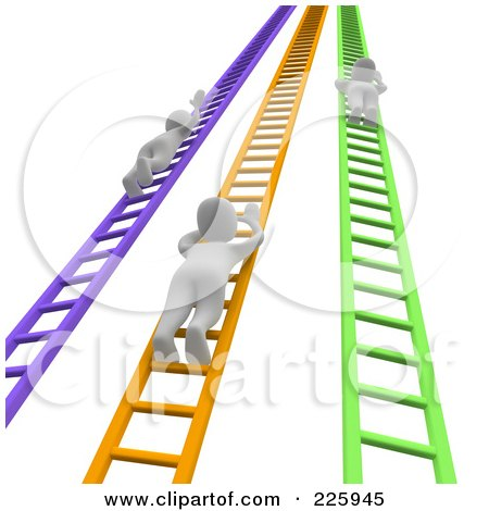 Royalty-Free (RF) Clipart Illustration of 3d Blanco Men Climbing Up Colorful Ladders by Jiri Moucka