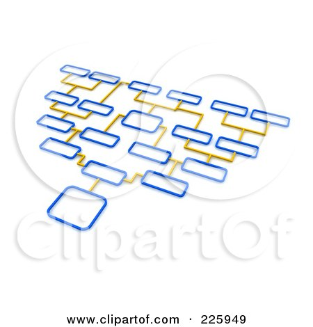 Royalty-Free (RF) Clipart Illustration of a 3d Blue And Yellow Diagram With Different Option Boxes by Jiri Moucka