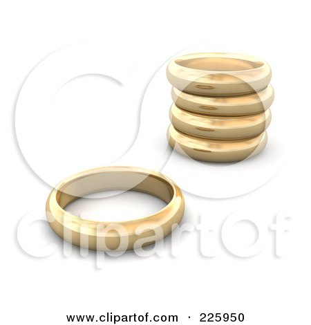 3d Blanco Couple With Giant Golden Wedding Rings by Jiri Moucka 211818