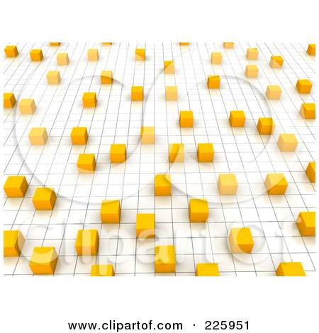 Royalty-Free (RF) Clipart Illustration of a 3d Background Of Orange Pixels On A Grid by Jiri Moucka