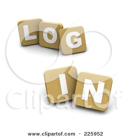 Royalty-Free (RF) Clipart Illustration of 3d Tan Blocks Spelling LOG IN by Jiri Moucka