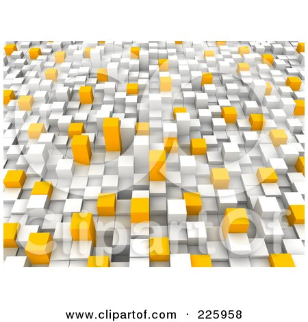 Royalty-Free (RF) Clipart Illustration of a 3d Background Of White, Gray And Orange Towers - 1 by Jiri Moucka
