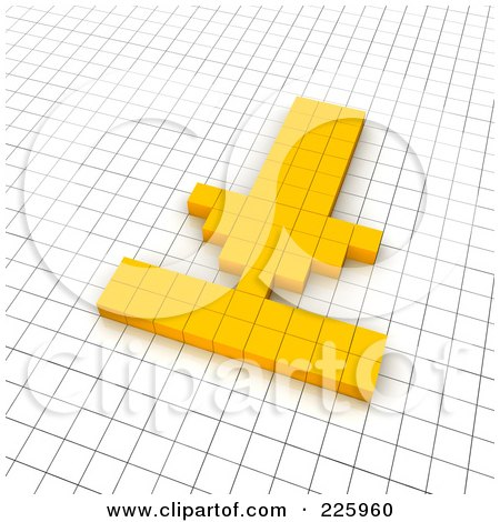 Royalty-Free (RF) Clipart Illustration of a 3d Download Icon Made Of Yellow Pixels On A Grid by Jiri Moucka
