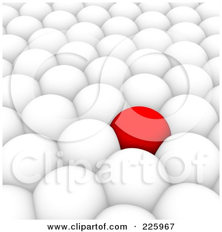 Royalty-Free (RF) Clipart Illustration of a 3d Red Ball Surrounded By White Balls by Jiri Moucka