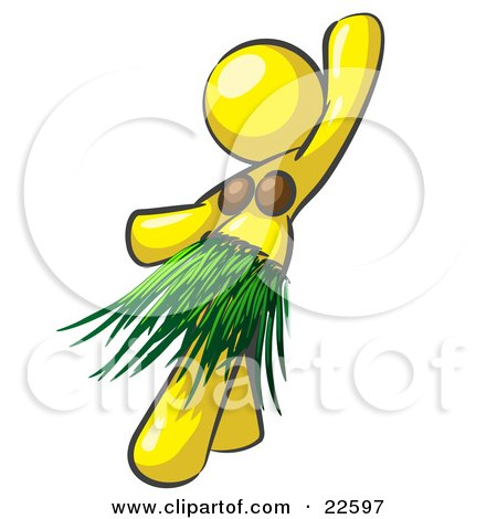 Clipart Illustration of a Yellow Hula Dancer Woman In A Grass Skirt And Coconut Shells, Performing At A Luau by Leo Blanchette