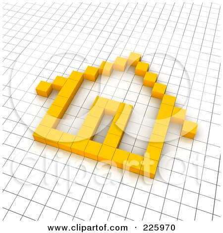 Royalty-Free (RF) Clipart Illustration of a 3d Home Icon Made Of Yellow Pixels On A Grid by Jiri Moucka