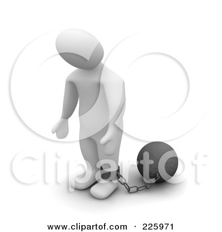 Royalty-Free (RF) Clipart Illustration of a 3d Blanco Man Standing With A Ball And Chain by Jiri Moucka