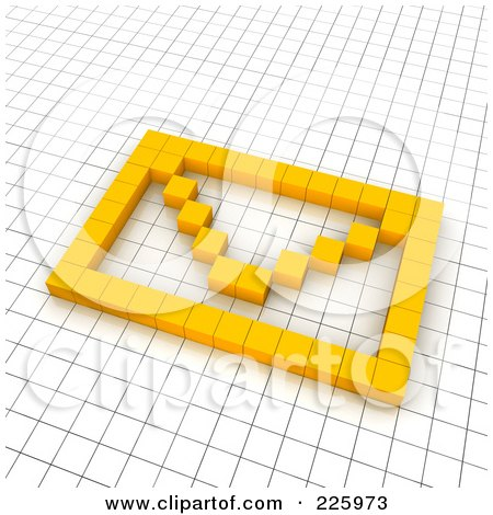 Royalty-Free (RF) Clipart Illustration of a 3d Envelope Icon Made Of Yellow Pixels On A Grid by Jiri Moucka