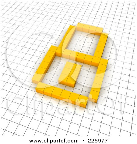 Royalty-Free (RF) Clipart Illustration of a 3d Padlock Icon Made Of Yellow Pixels On A Grid by Jiri Moucka