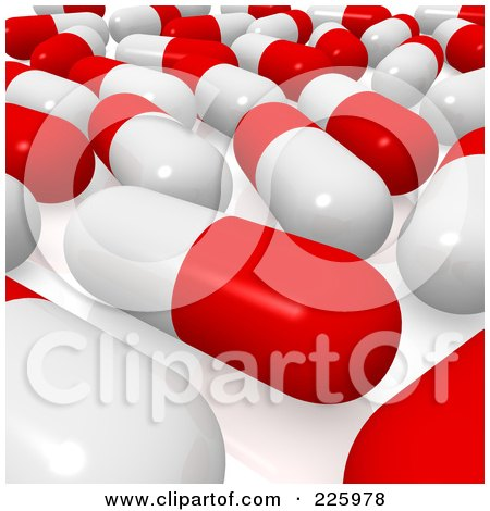 Royalty-Free (RF) Clipart Illustration of a 3d Red And White Pill Background by Jiri Moucka