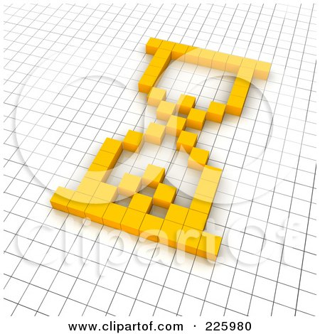 Royalty-Free (RF) Clipart Illustration of a 3d Hourglass Icon Made Of Yellow Pixels On A Grid by Jiri Moucka