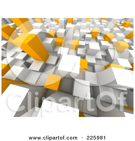 Royalty-Free (RF) Clipart Illustration of a 3d Background Of White, Gray And Orange Towers - 2 by Jiri Moucka