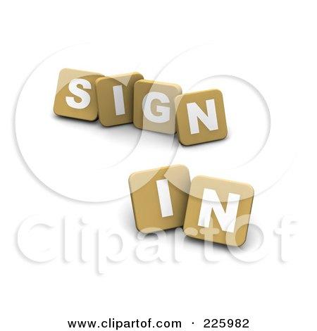 Royalty-Free (RF) Clipart Illustration of 3d Tan Blocks Spelling SIGN IN by Jiri Moucka