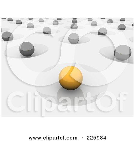Royalty-Free (RF) Clipart Illustration of a 3d Yellow Orb In A Crater, Other Gray Orbers In Craters On Gray by Jiri Moucka