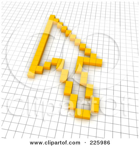 Royalty-Free (RF) Clipart Illustration of a 3d Cursor Arrow Icon Made Of Yellow Pixels On A Grid by Jiri Moucka