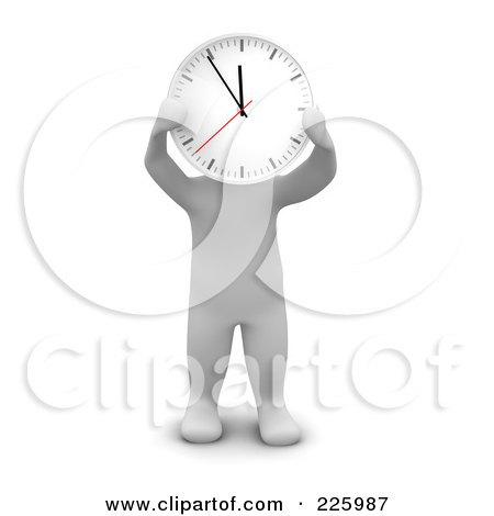 Royalty-Free (RF) Clipart Illustration of a 3d Blanco Man Holding A Clock Up To His Face by Jiri Moucka