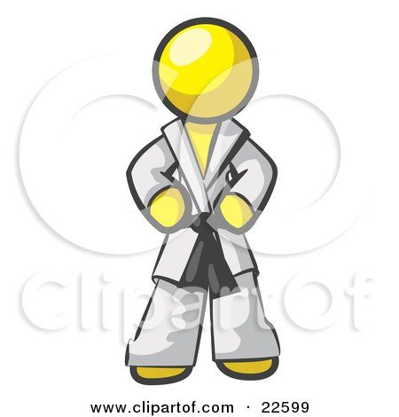 Clipart Illustration of a Tough Yellow Man In A White Karate Suit And A Black Belt, Standing With His Hands On His Hips by Leo Blanchette