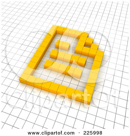 Royalty-Free (RF) Clipart Illustration of a 3d Document Icon Made Of Yellow Pixels On A Grid by Jiri Moucka