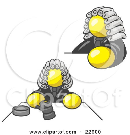 Clipart Illustration of a Yellow Judge Man Wearing a Wig in Court by Leo Blanchette