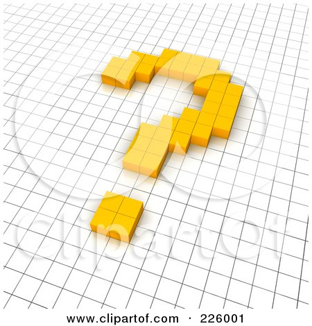 Royalty-Free (RF) Clipart Illustration of a 3d Question Mark Icon Made Of Yellow Pixels On A Grid by Jiri Moucka