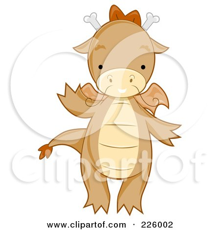 Royalty-Free (RF) Clipart Illustration of a Cute Whiskered Dragon Waving by BNP Design Studio