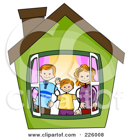 Royalty-Free (RF) Clipart Illustration of a Stick Boy With His Parents In A Green House by BNP Design Studio