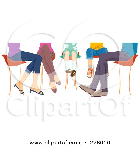 Royalty-Free (RF) Clipart Illustration of Feet Of A Family Sitting At A Table by BNP Design Studio