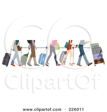 Royalty-Free (RF) Clipart Illustration of Feet Of People In Line At The Airport by BNP Design Studio