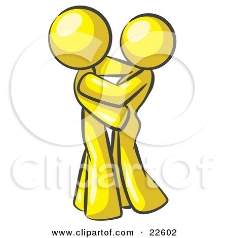 Clipart Illustration of a Yellow Man Gently Embracing His Lover, Symbolizing Marriage And Commitment by Leo Blanchette