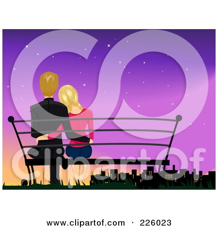 Royalty-Free (RF) Clipart Illustration of a Romantic Couple Sitting On A Bench And Watching A City At Dusk by BNP Design Studio