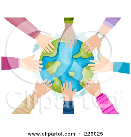 Royalty-Free (RF) Clipart Illustration of a Circle Of Kids Hands Touching The Globe by BNP Design Studio