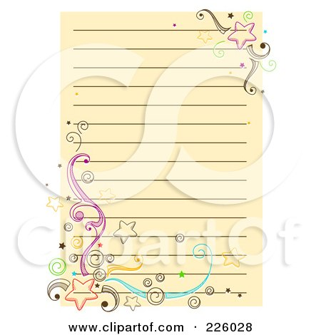 Royalty-Free (RF) Clipart Illustration of a Beige Ruled Page With Doodled Stars And Swirls by BNP Design Studio