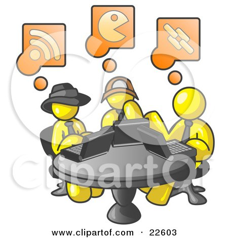 Clipart Illustration of Three Yellow Men Using Laptops in an Internet Cafe by Leo Blanchette