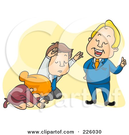 Royalty-Free (RF) Clipart Illustration of a Man And Woman Kneeling Before A Know It All Boss by BNP Design Studio