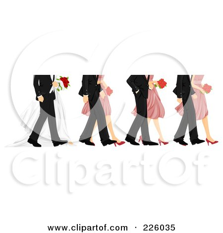 Royalty-Free (RF) Clipart Illustration of Feet Of Bridesmaids, Groomsmen And The Wedding Couple by BNP Design Studio